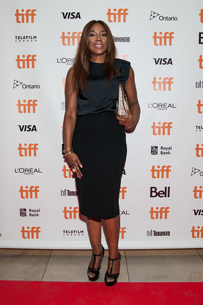 Mo Abudu in this lovely black number. (Image via Getty)